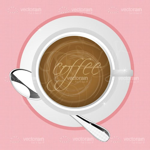 Coffee Cup From Above on Pink Background